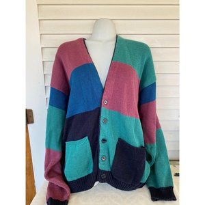Vintage Jed wear sz L color block cardigan sweater